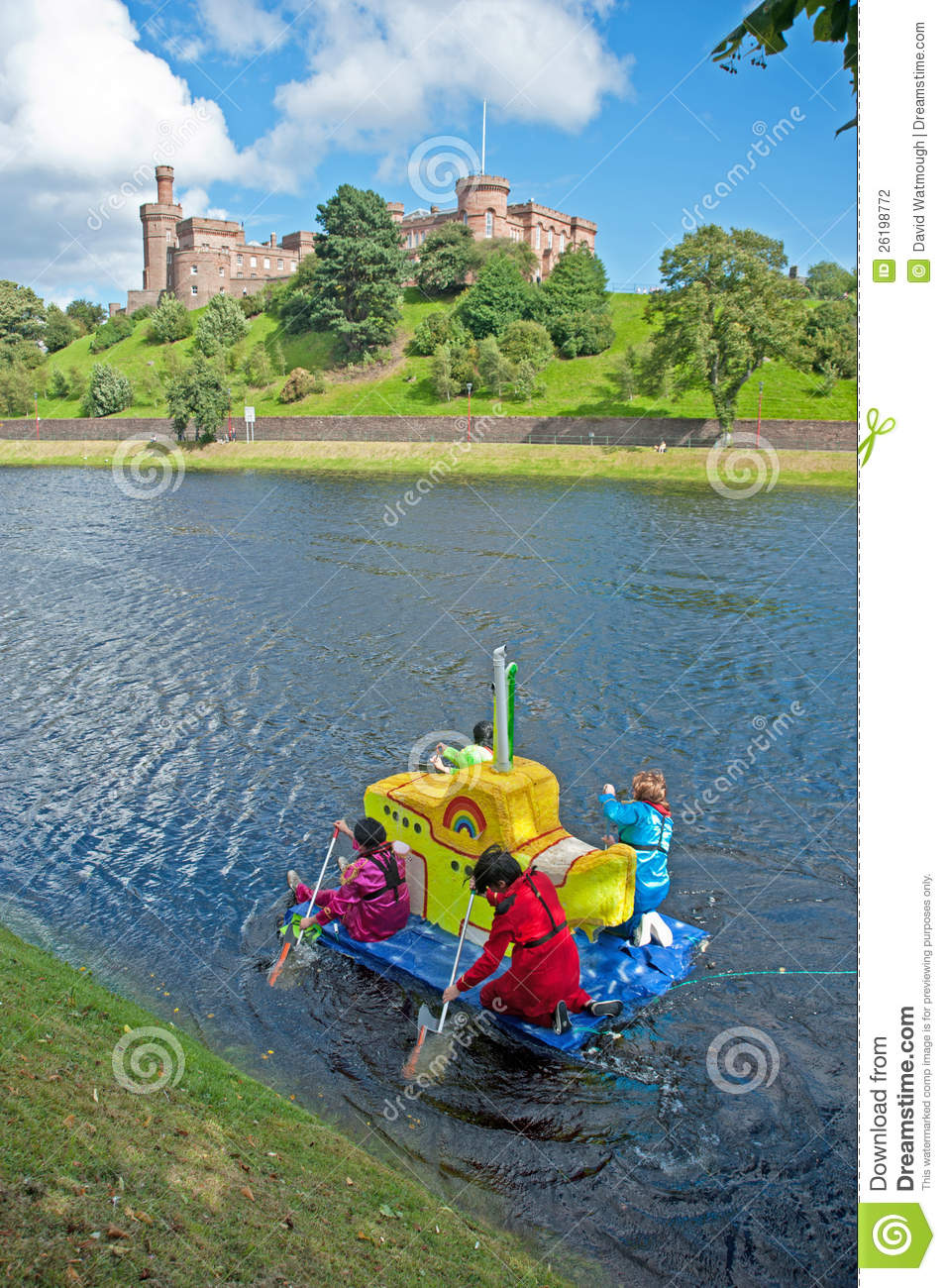 Yellow submarine raft passing Inverness Castle !