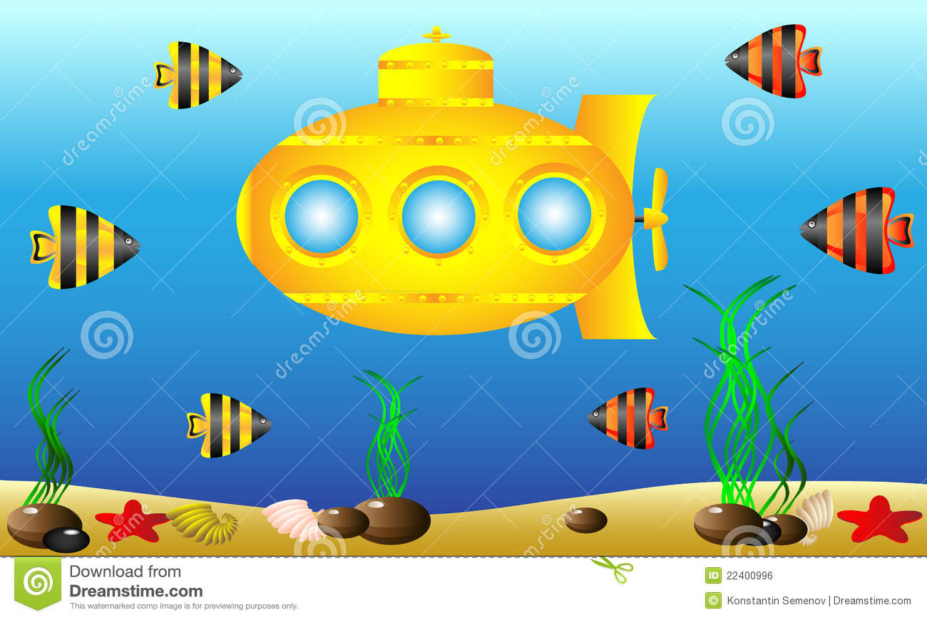 Yellow Submarine Under Water Royalty Free Stock Image