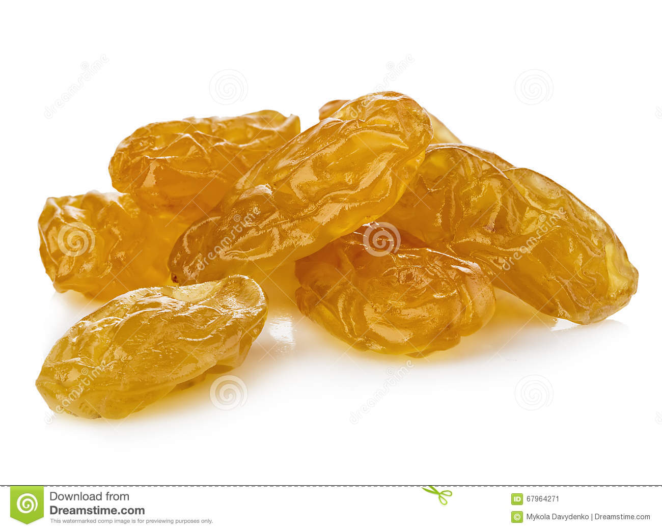 Yellow Sultanas Raisins Isolated On White Background ...