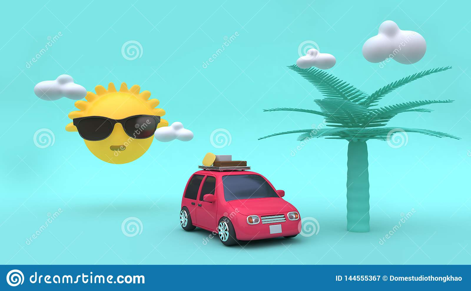 Yellow sun clouds coconut tree cartoon style red car with many objects 3d rendering holiday,going-travel,sea,beach,summer