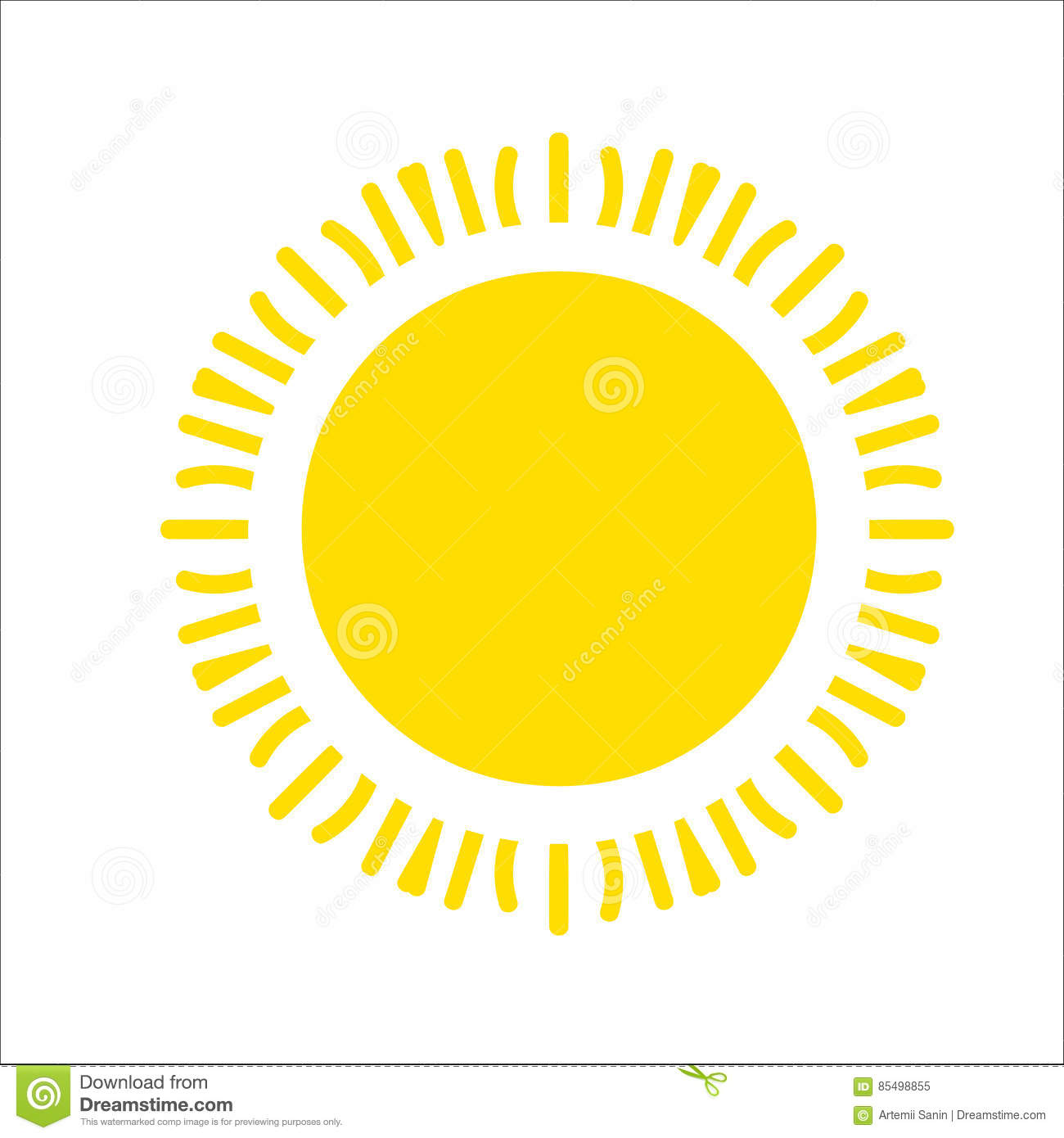 Yellow Sun Icon Isolated On White Background. Flat Sunlight, Sign ...