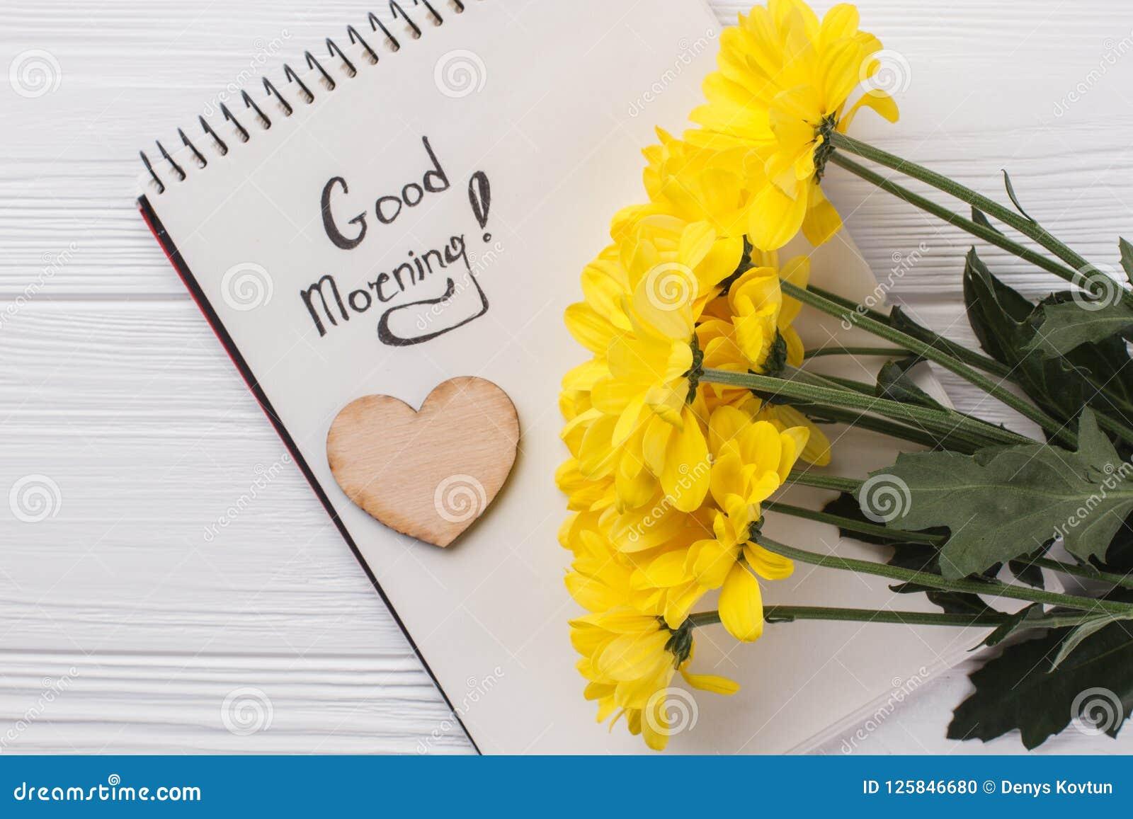 Yellow Sunchoke Flowers And Good Morning Wish Stock Photo Image