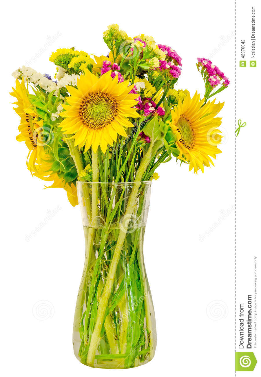 Yellow Sunflowers In A Transparent Vase Close Up