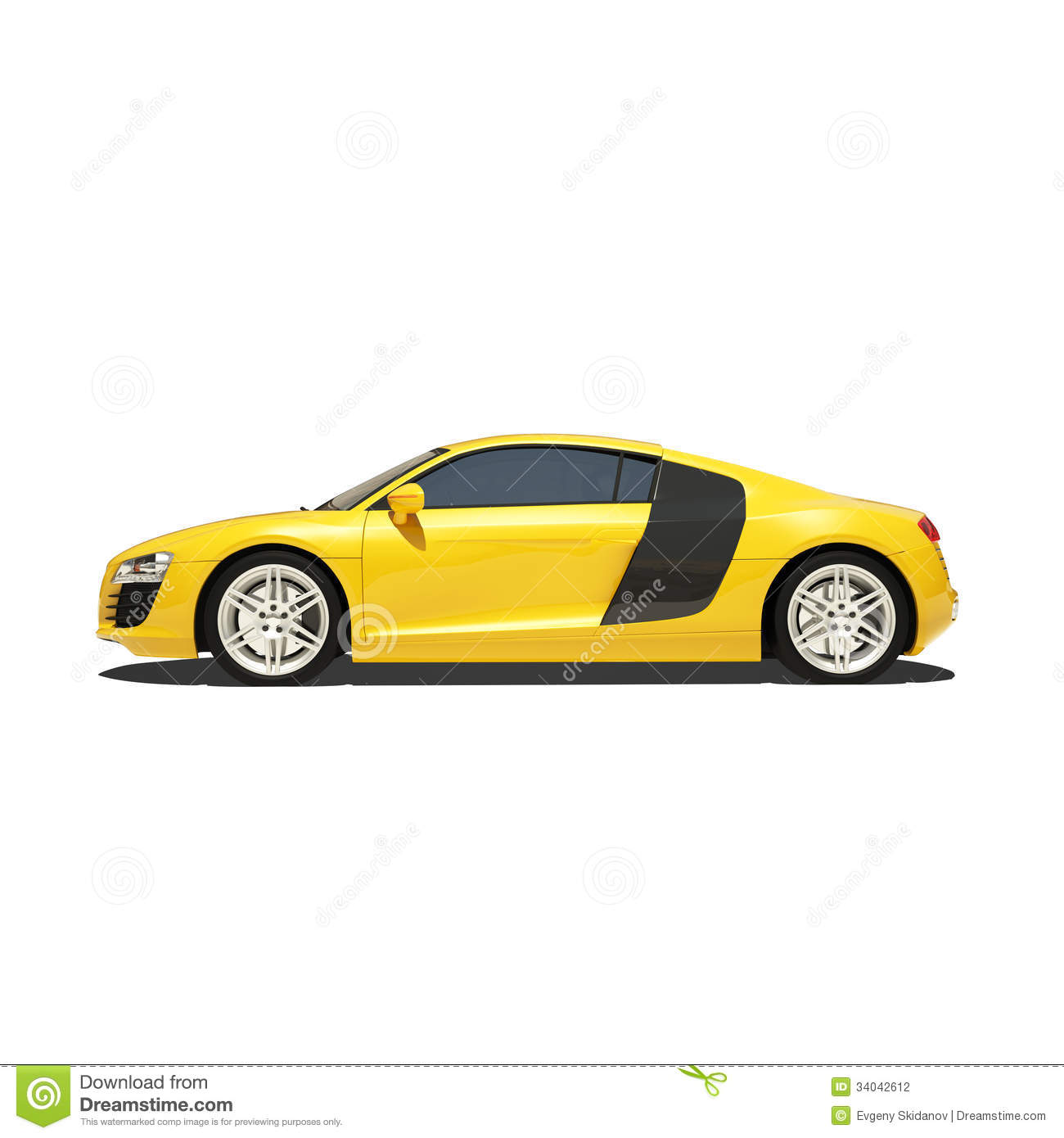 White Tire Paint >> Yellow Super Car Isolated On The White Background Stock Illustration - Image: 34042612