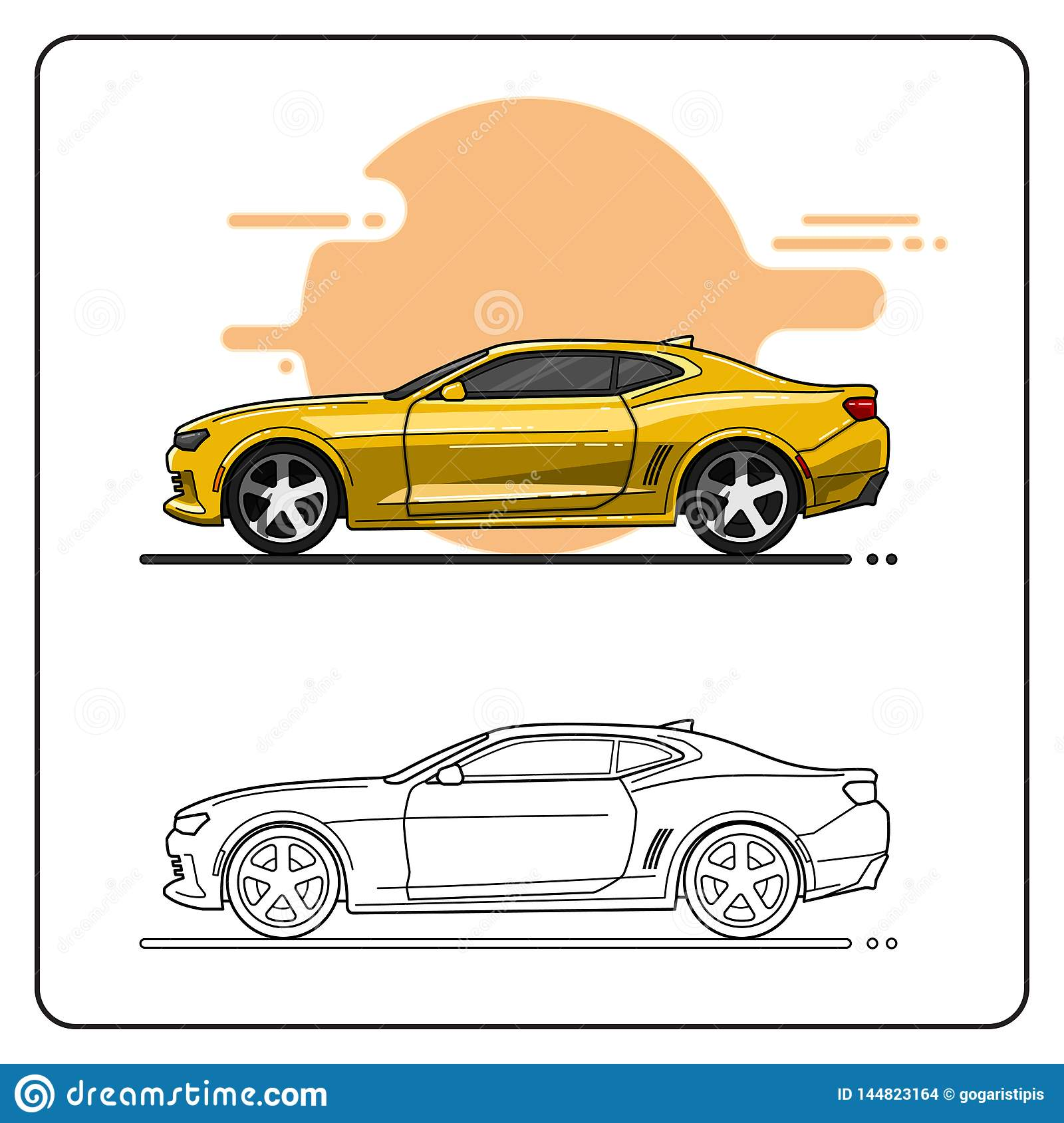 Yellow Super Cars Side View Stock Vector - Illustration of line