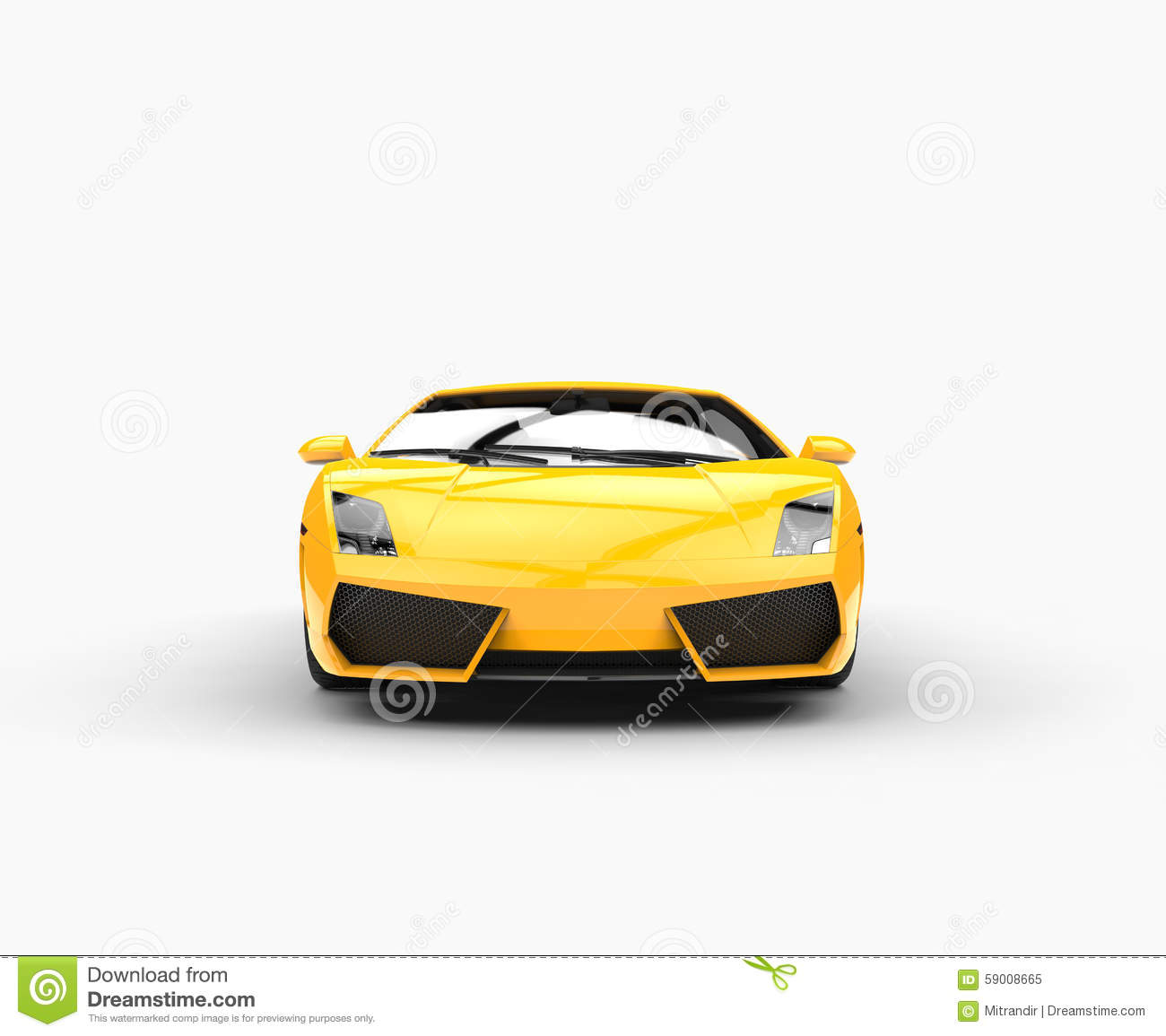 Yellow Supercar Front View Stock Illustration Image