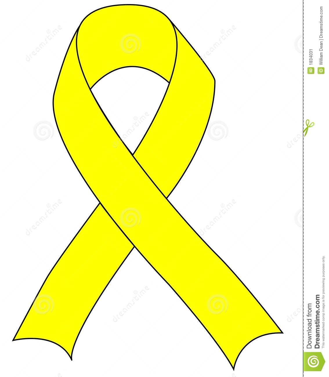 Yellow Support The Troops Ribbon Stock Vector