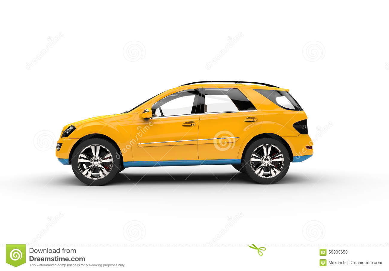 Yellow Suv Side View Stock Illustration Image