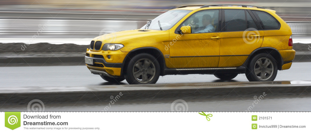 Yellow Suv Luxury German Car Driving Fast Stock Image Image