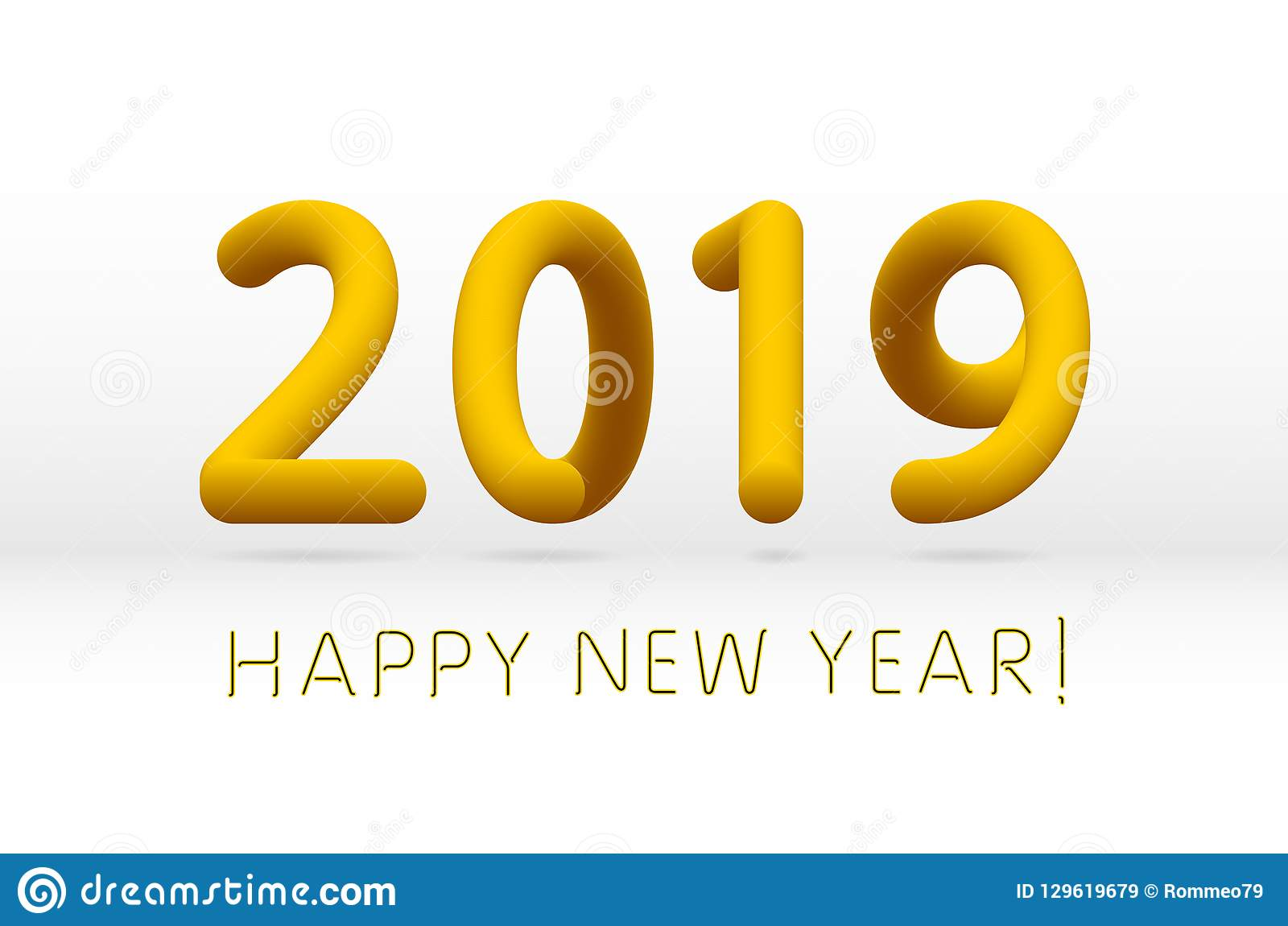 yellow 2019 symbol happy new year isolated on white background vector illustration