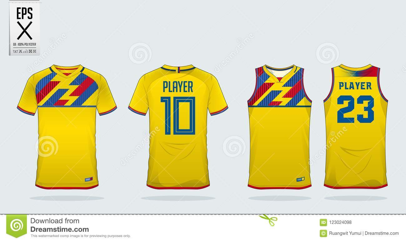 Yellow T Shirt Sport Design Template For Soccer Jersey Football Kit And Tank Top