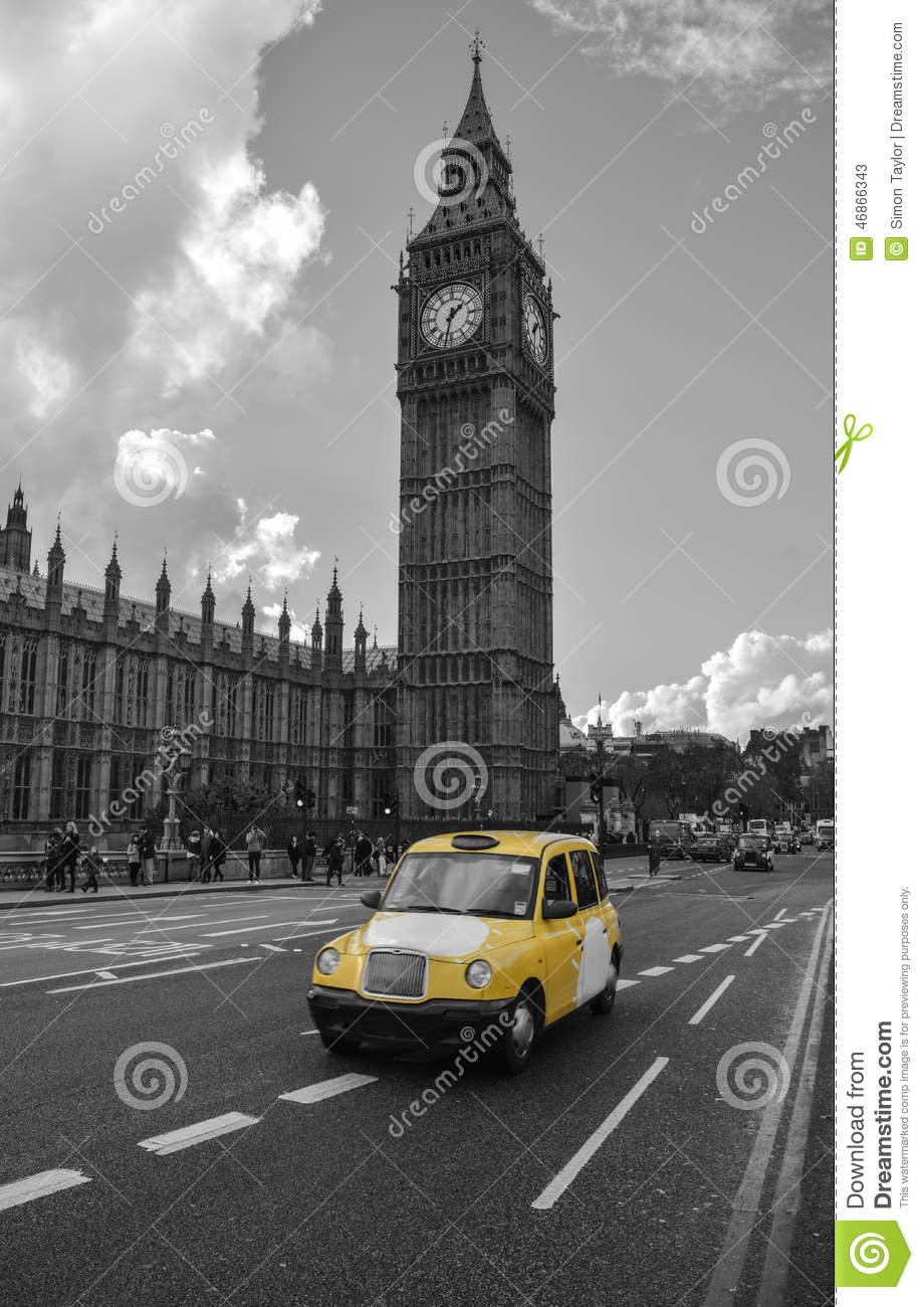 Yellow taxi cab in london editorial stock photo image of for Time square londra