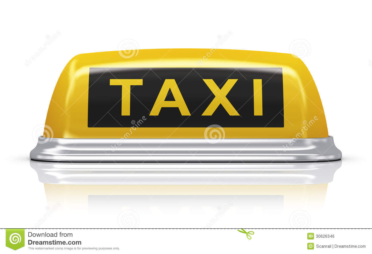 Yellow Taxi Car Sign Stock Illustration Illustration Of