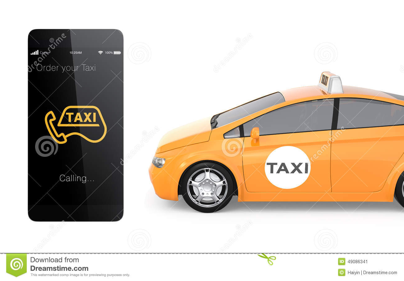 Yellow taxi and smart phone for mobile taxi order service concept stock illustration image - Order a cab ...