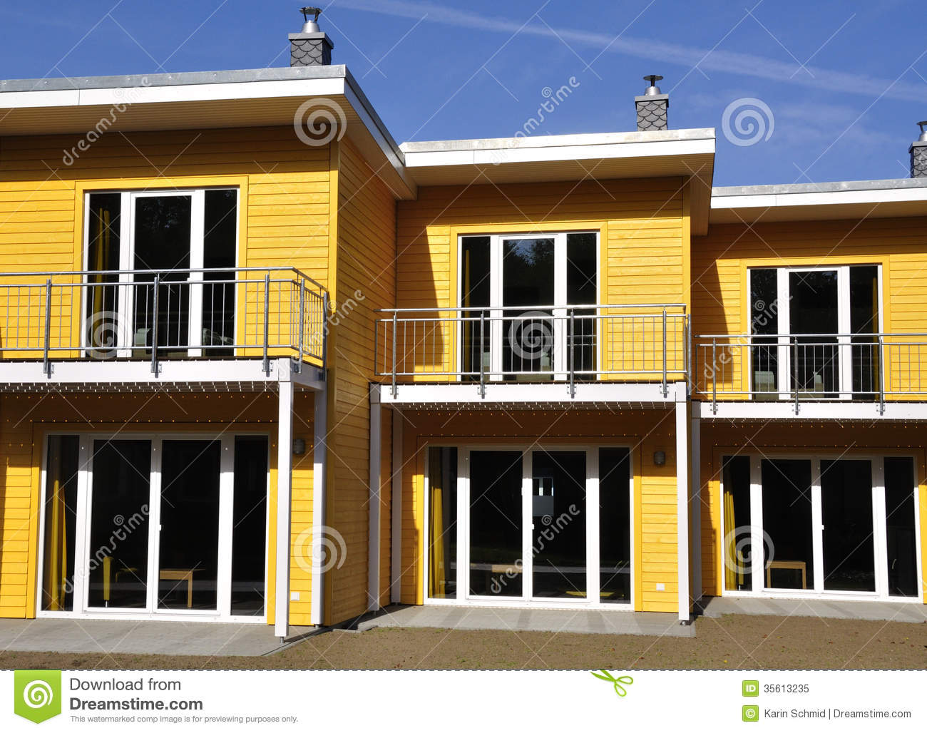 yellow terraced house front view royalty free stock photo. Black Bedroom Furniture Sets. Home Design Ideas