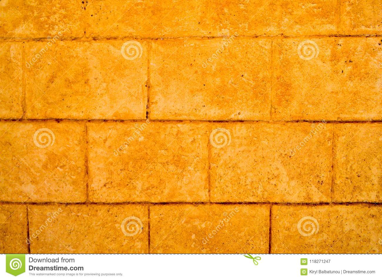 Yellow Texture Of The Old Ancient Brick Stone Wall With Tiles