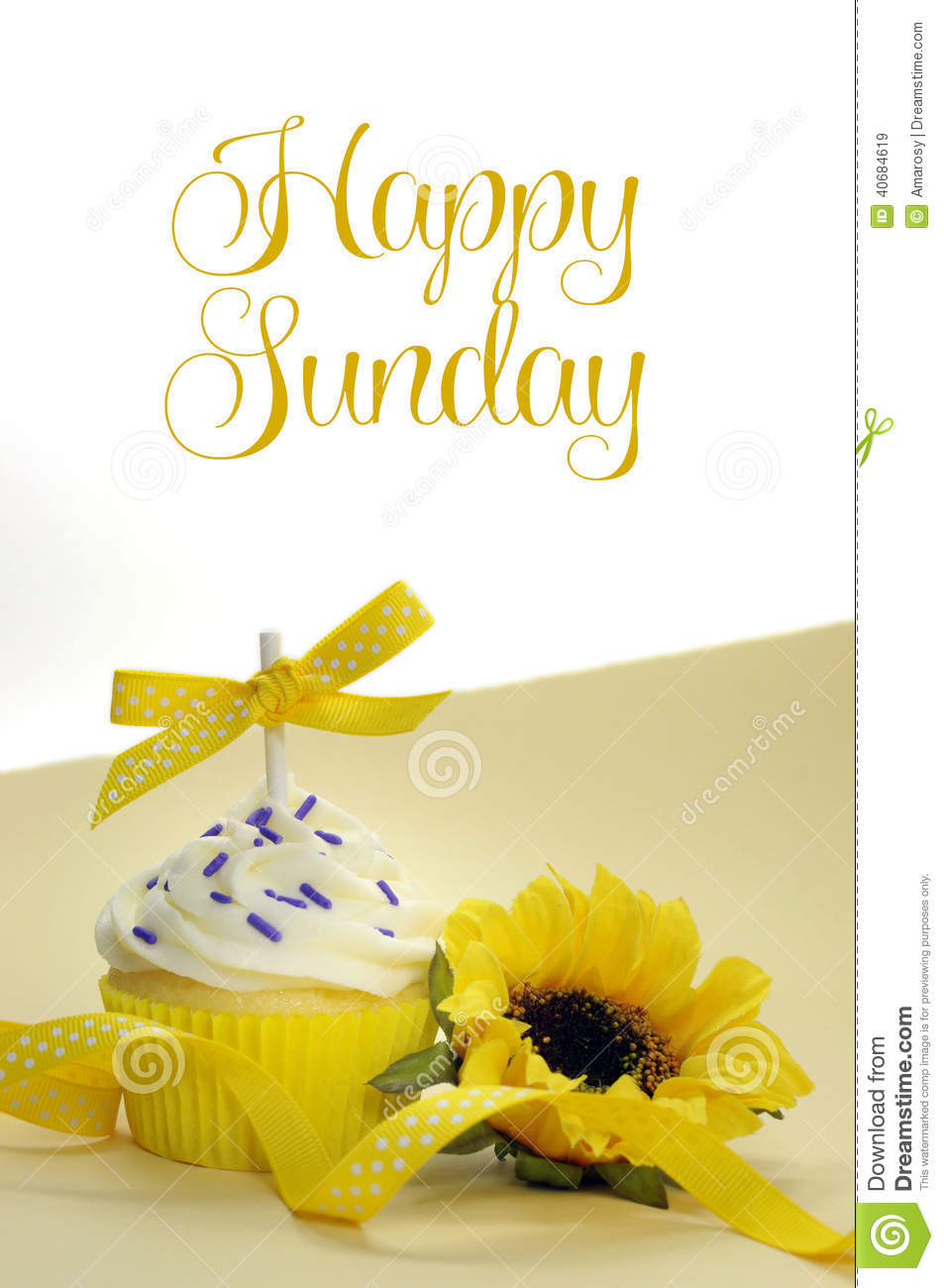 Yellow Theme Cupcake And Sunflower With Happy Sunday Stock Image