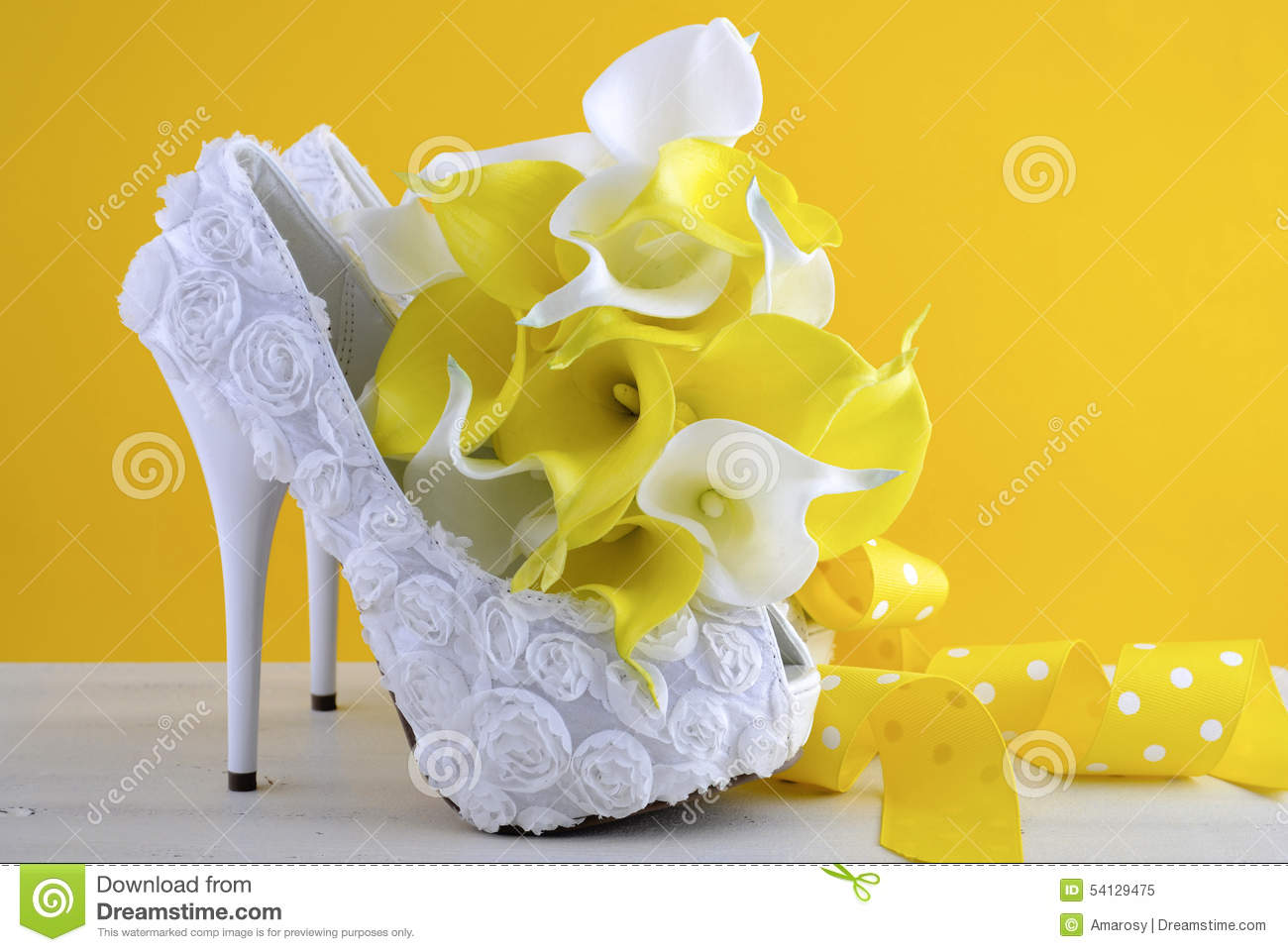 Yellow Theme Wedding Shoes And Bouquet