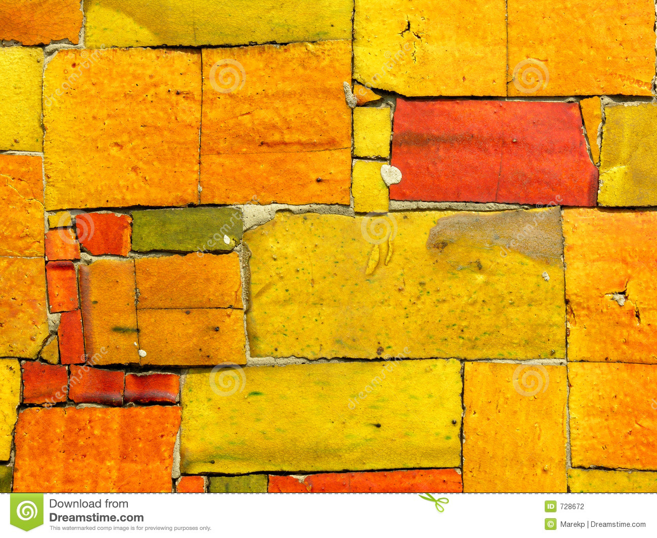 Yellow Tiles Mosaic Random Pattern Stock Photo Image