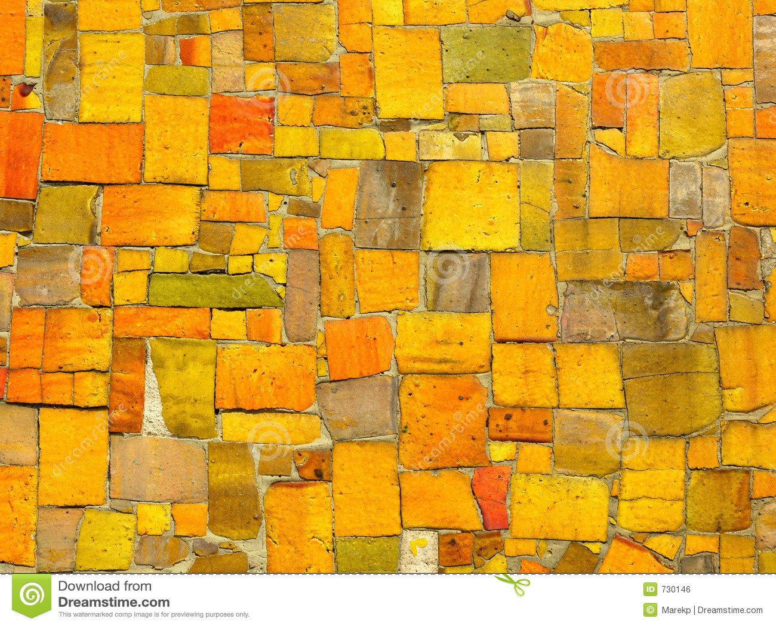 Yellow Tiles Mosaic Random Pattern Royalty Free Stock