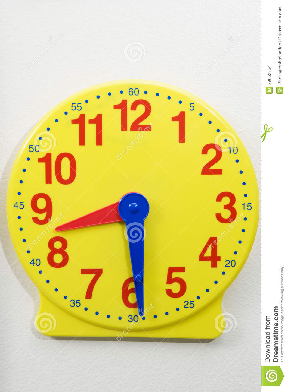 Yellow Time Teaching Clock Stock Photo Image Of Clock