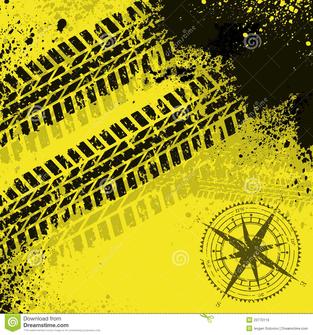 yellow tire tracks with wind rose royalty free stock