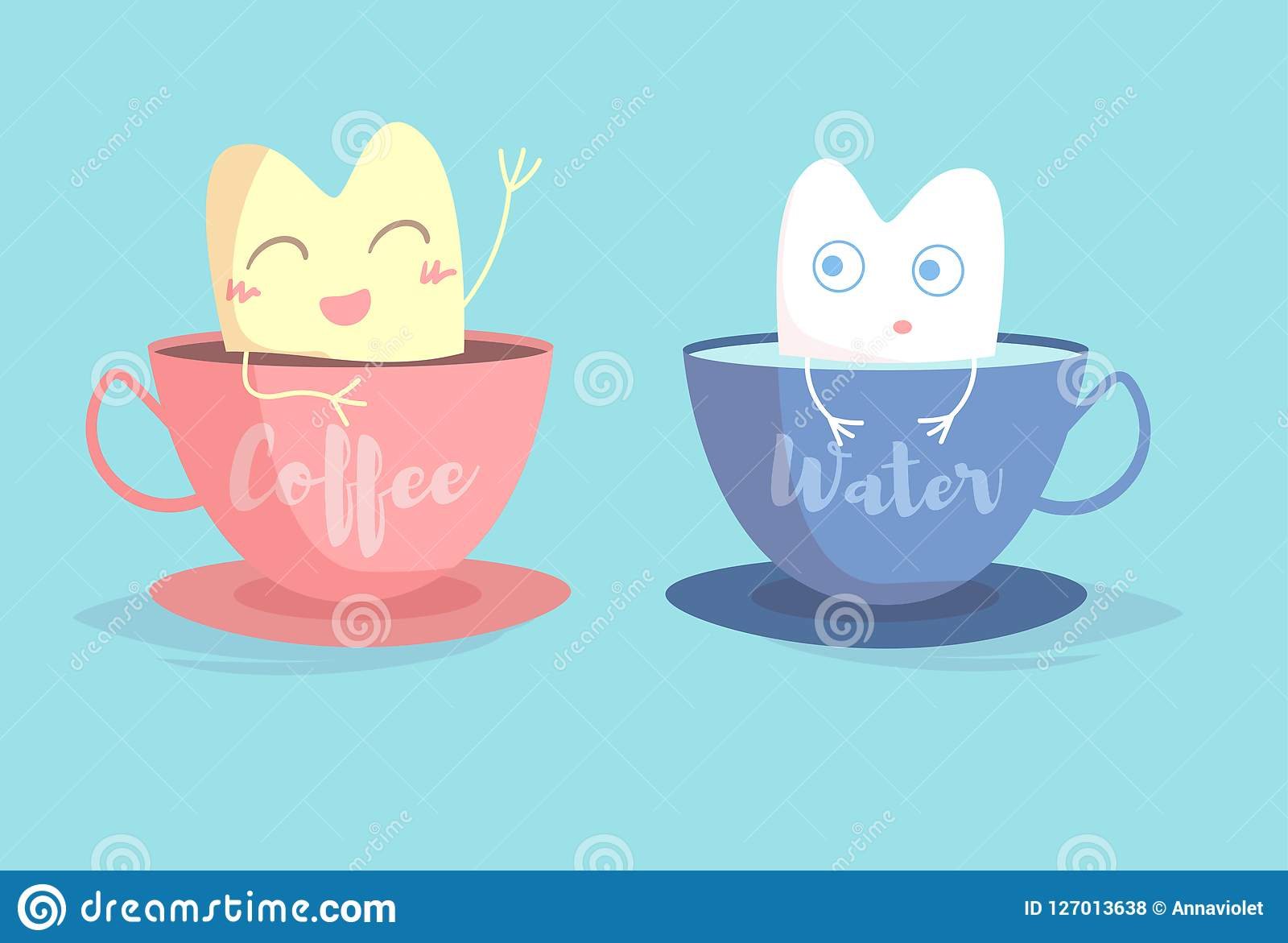 Yellow tooth in Cup of coffee, white tooth in Cup of water Vector. Cartoon.