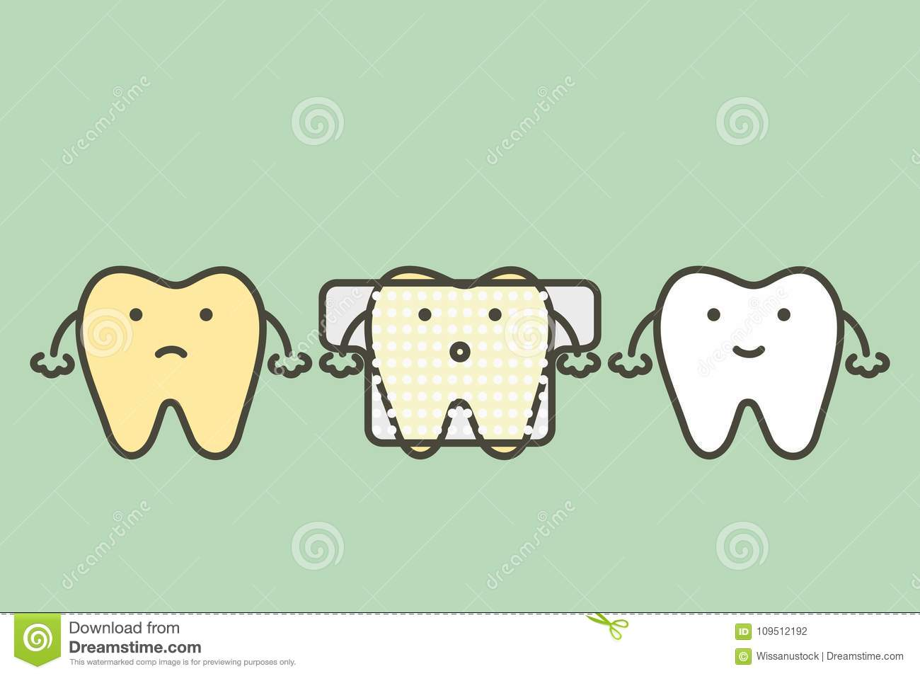 Yellow Tooth Used Teeth Whitening Strip Stock Vector