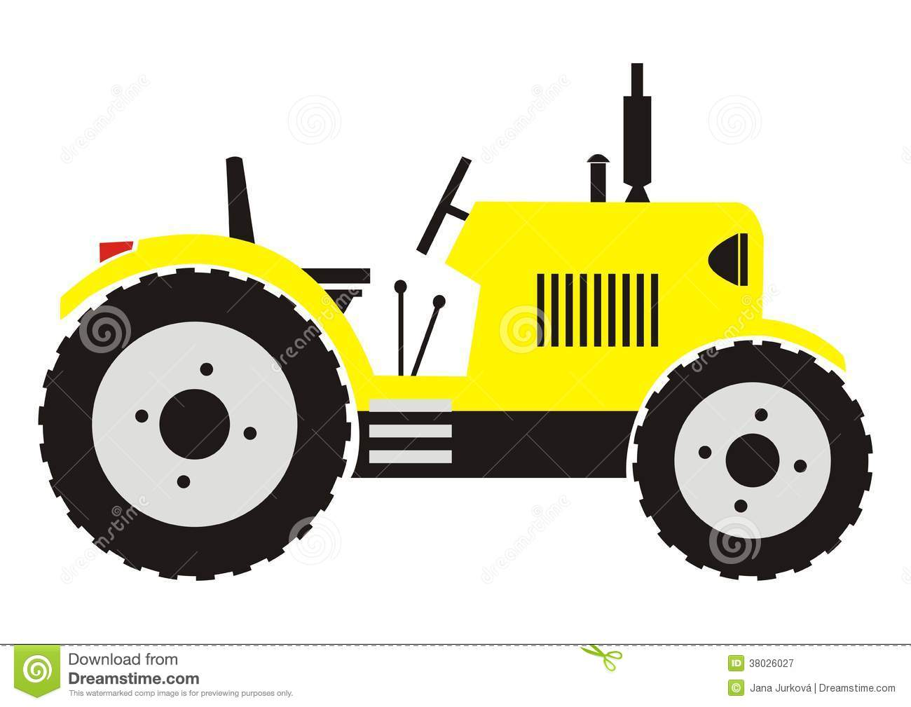 Yellow Tractor With Exhaust Stock Vector Illustration Of Exhaust