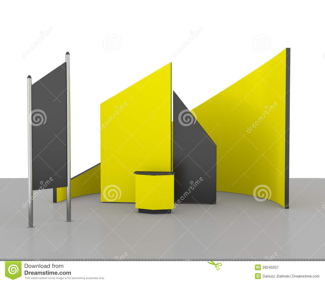 White Exhibition Stall : Yellow trade exhibition booth or stall stock illustration