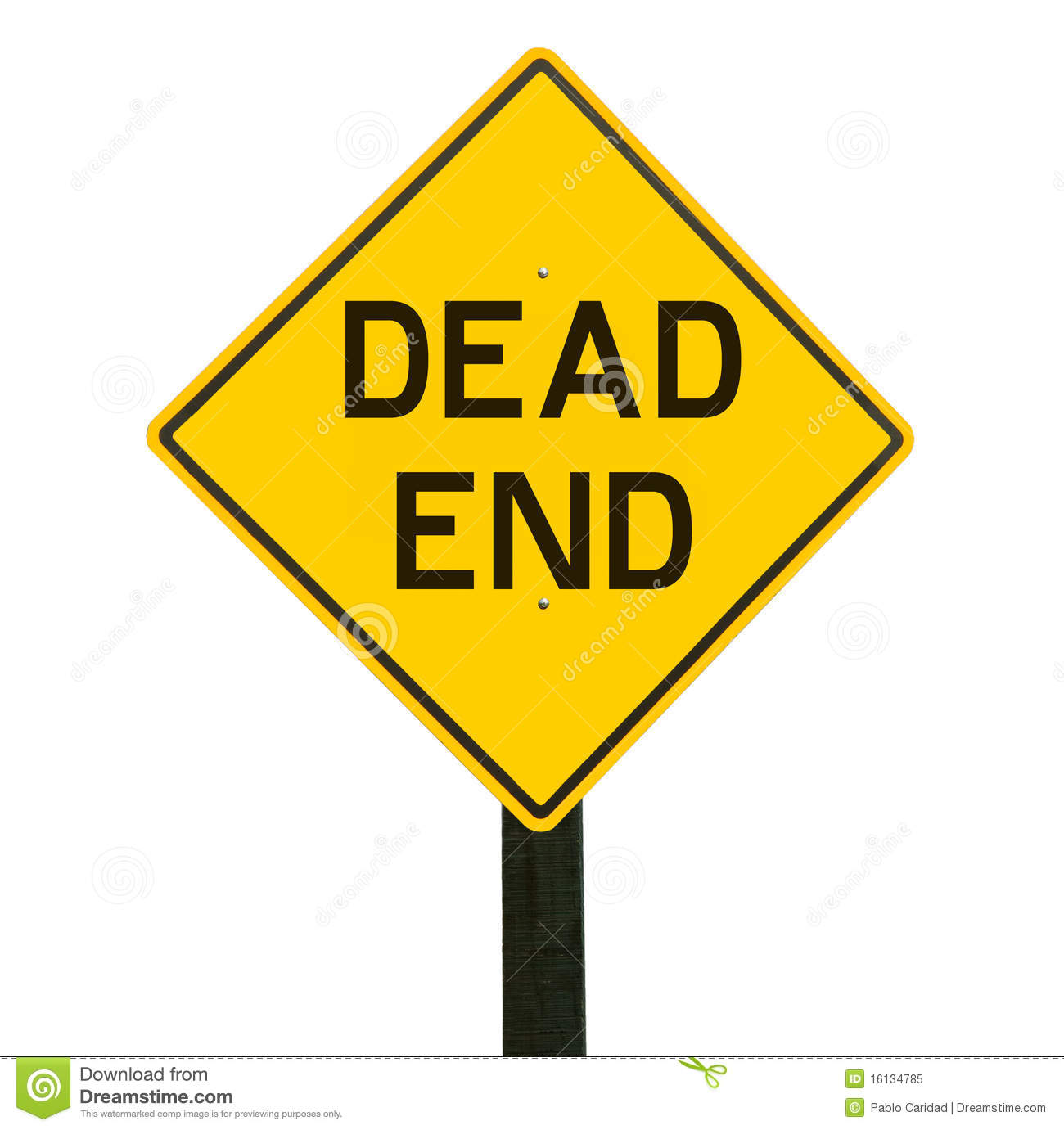 yellow traffic sign with dead end symbol stock image