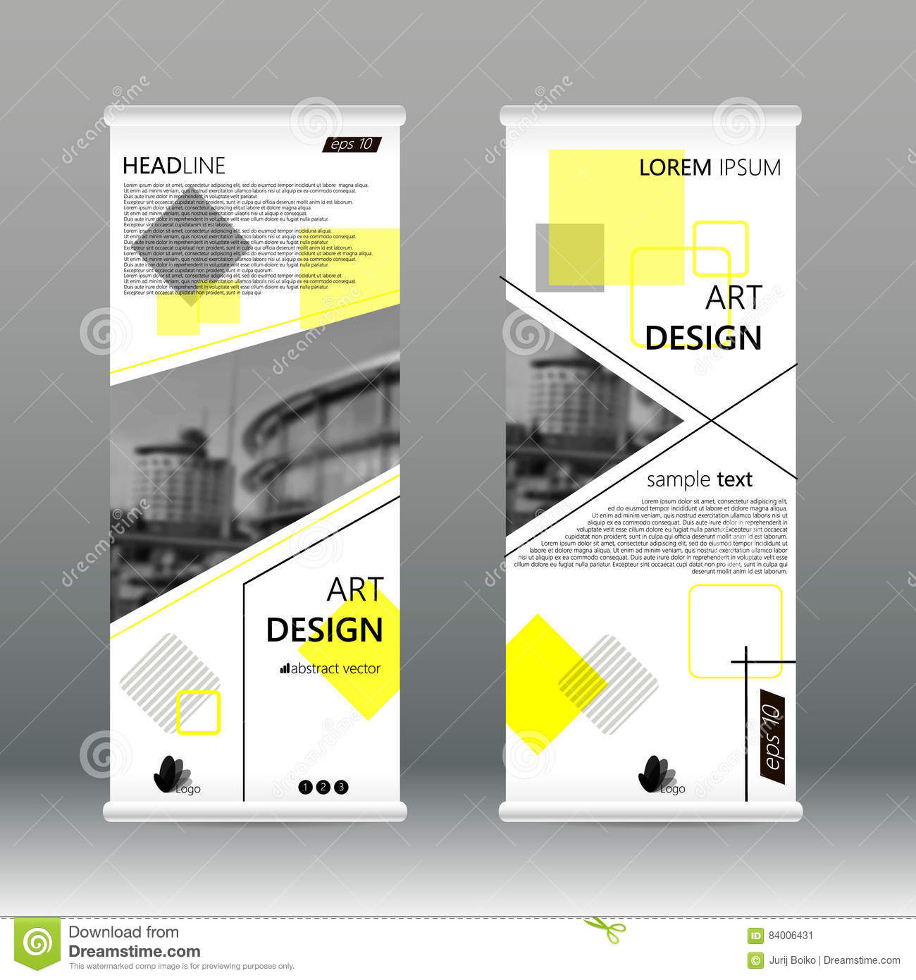 yellow triangle abstract business roll up banner flat design template abstract geometric banner template vector