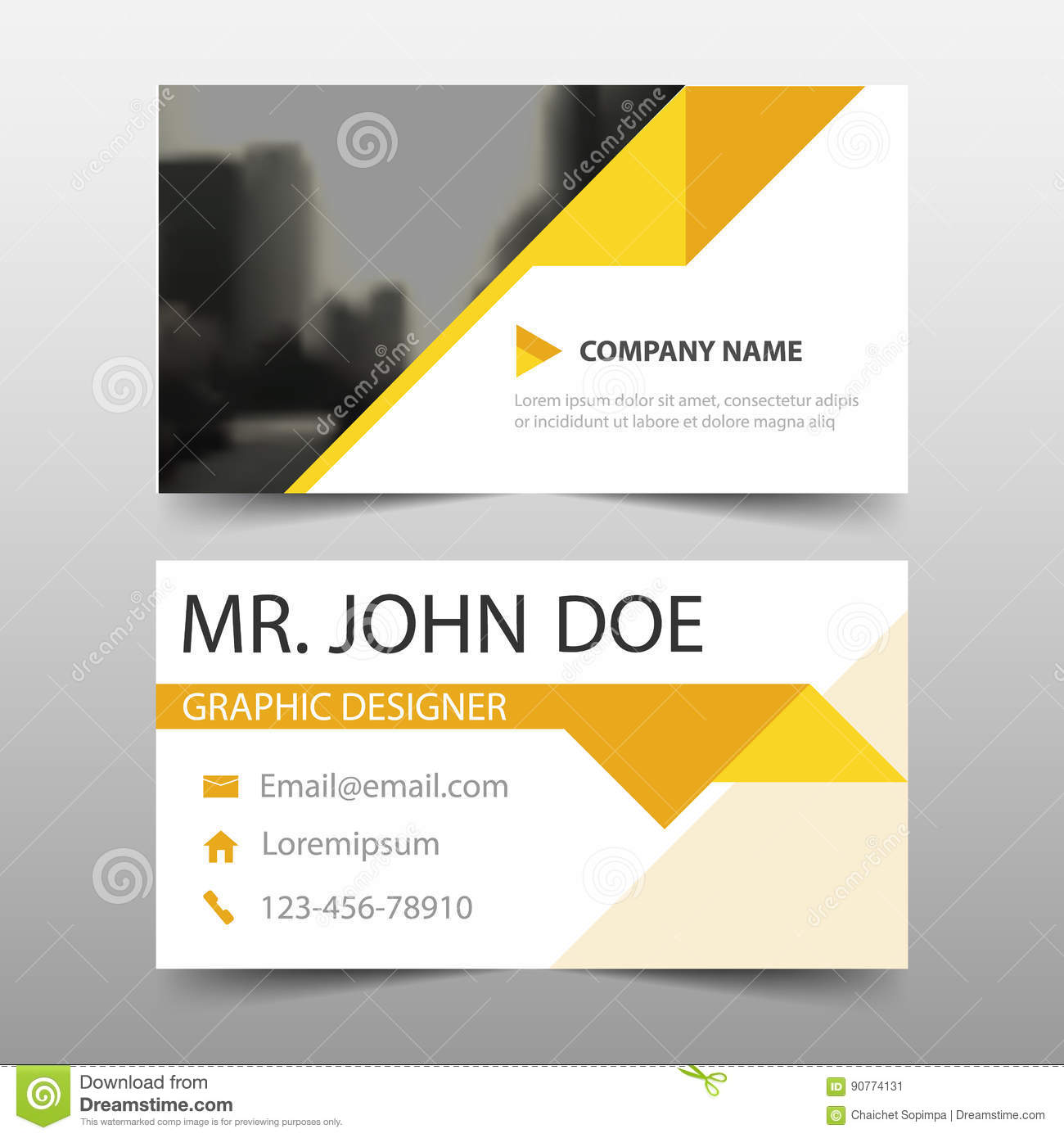 yellow triangle corporate business card name card template horizontal simple clean layout design template