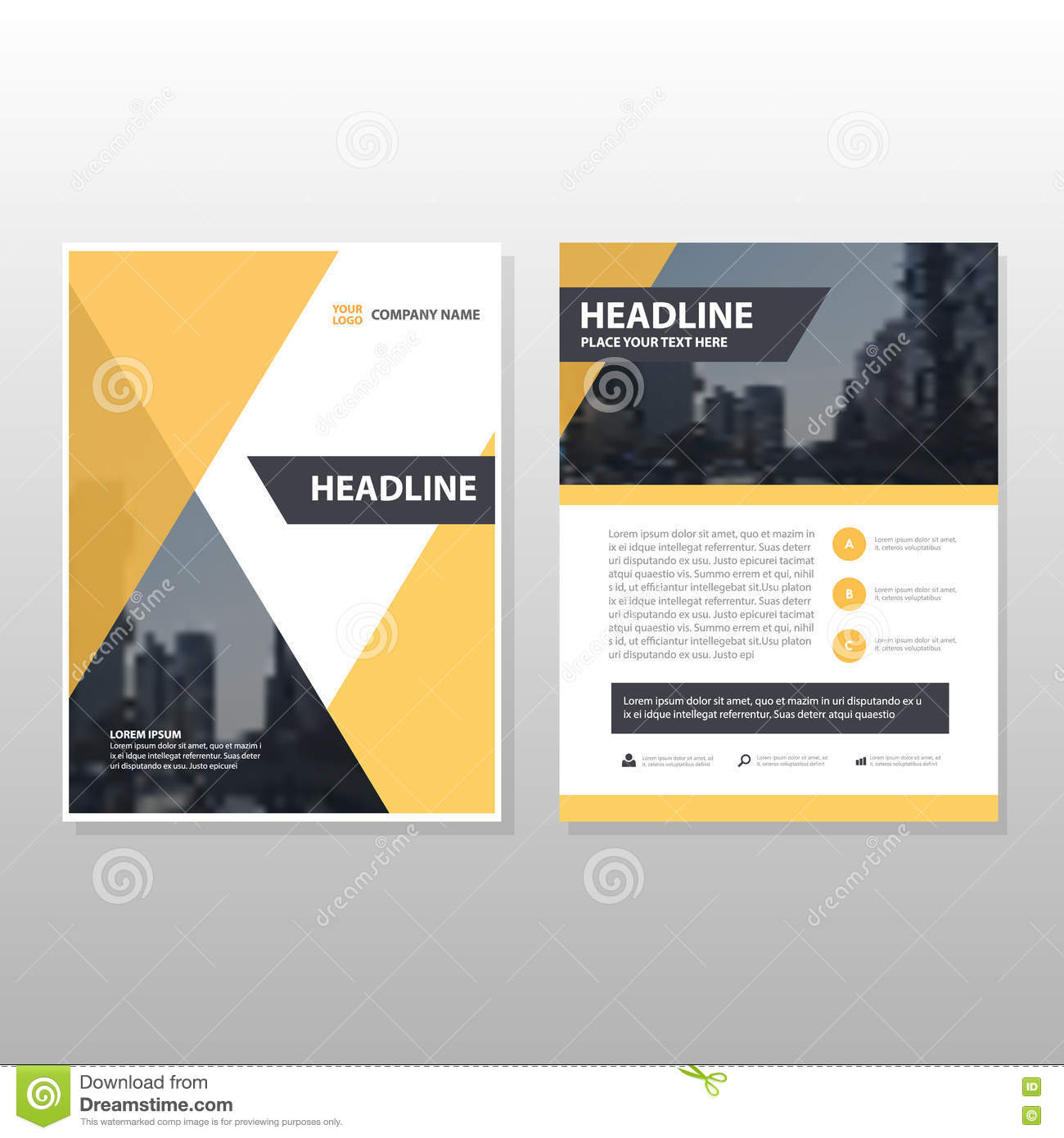 Book Cover Layout Download ~ Yellow triangle vector annual report leaflet brochure