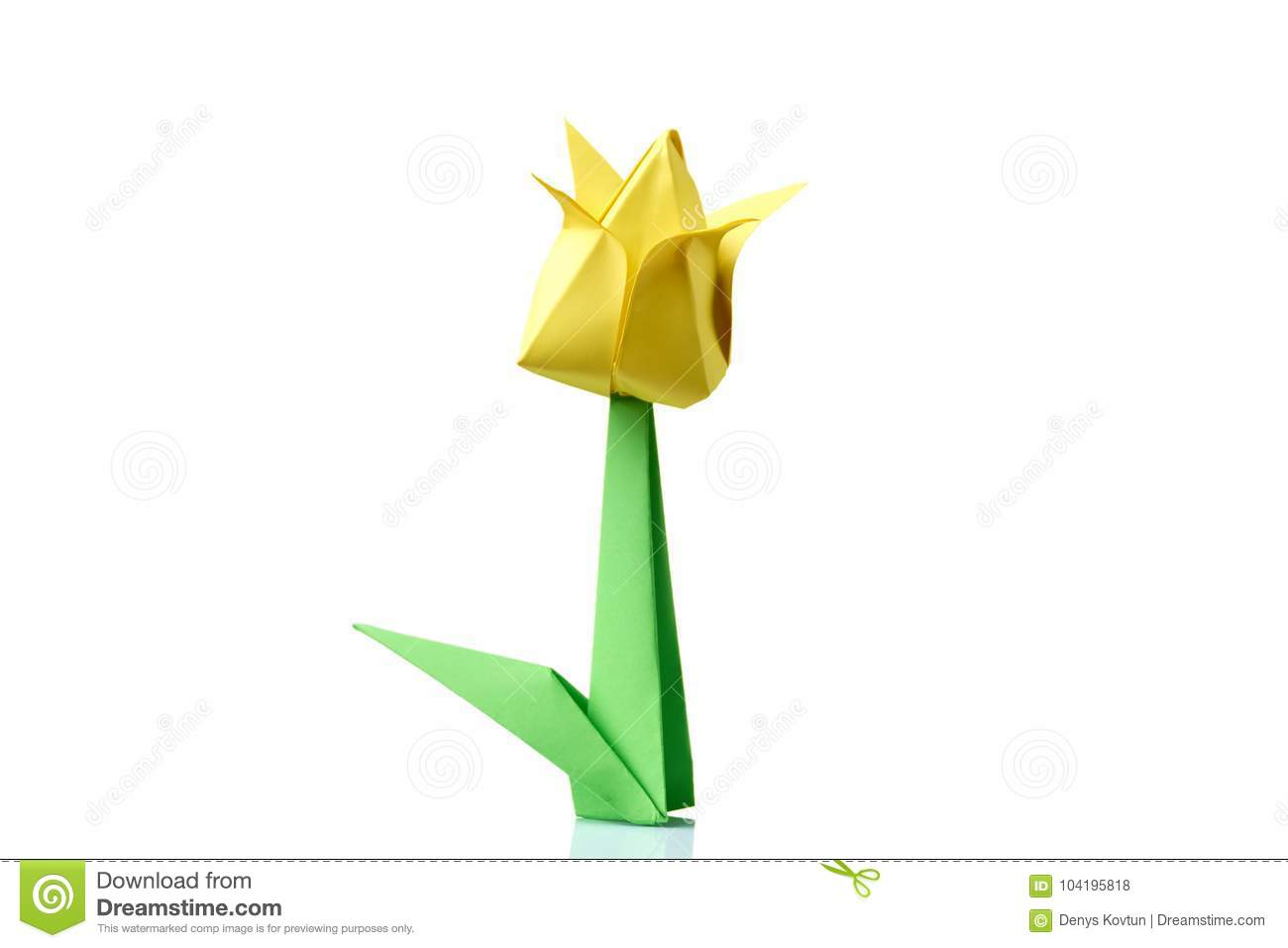 Yellow Tulip Origami Flower Stock Photo Image Of Hand Handmade