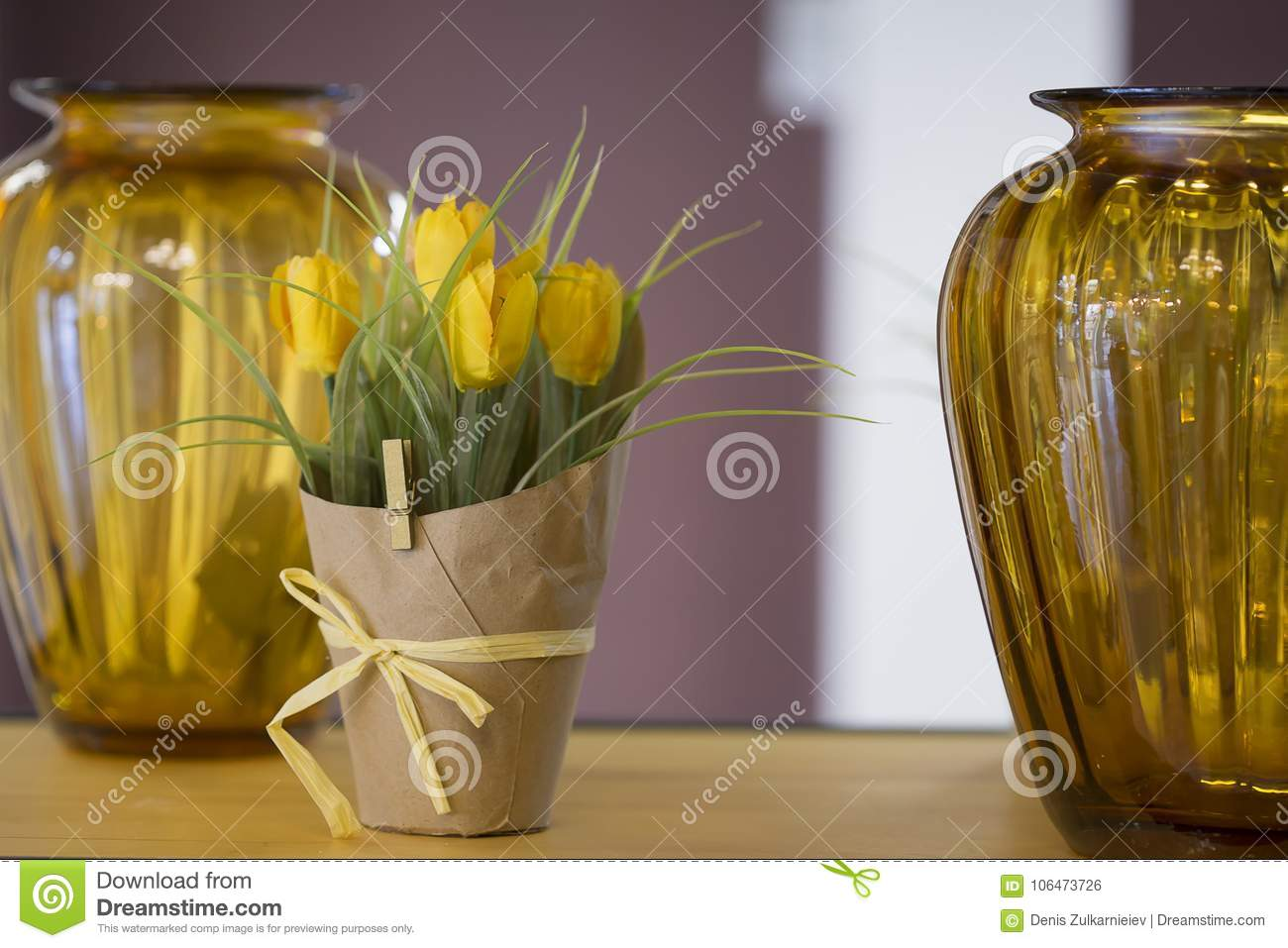 Yellow Tulips In A Pot On The Table Stock Photo Image Of Bright