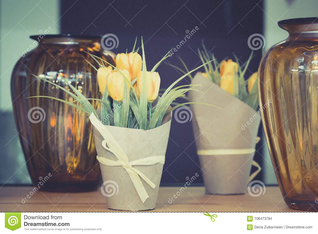 Yellow Tulips In A Pot On The Table Stock Photo Image Of Love