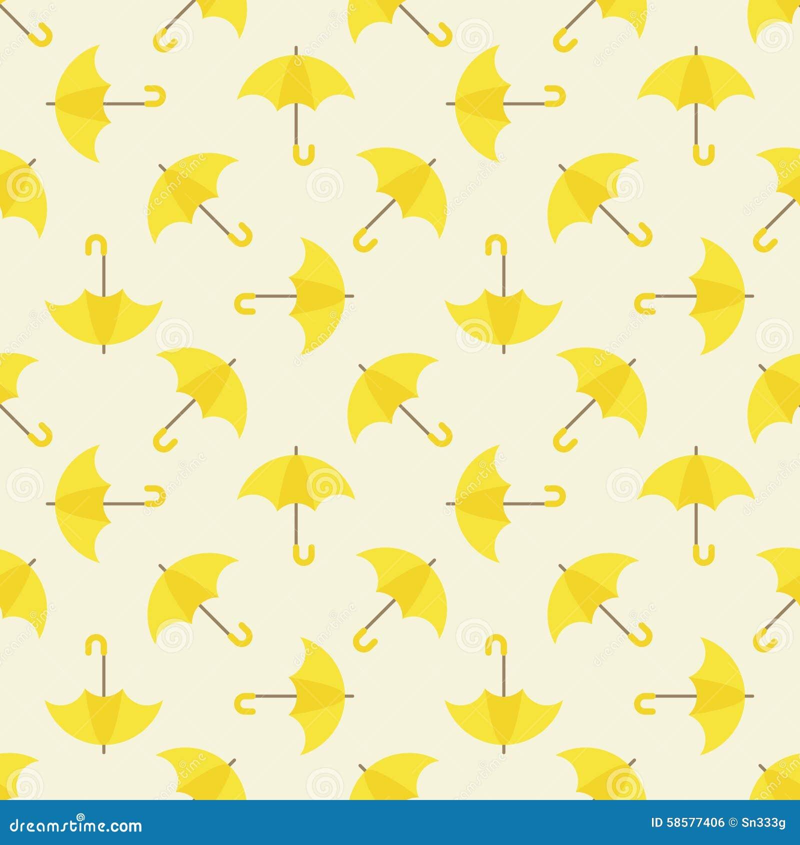 Yellow Umbrella Seamless Pattern