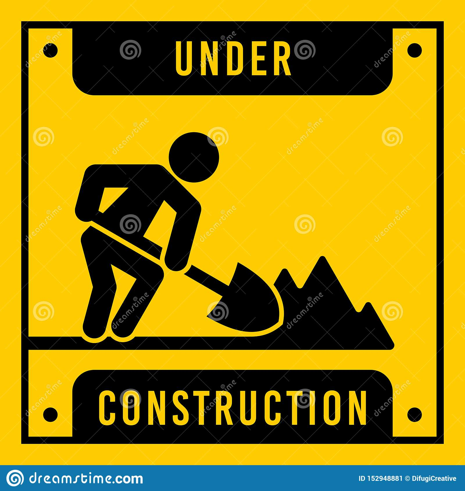 Yellow under construction, vector sign.