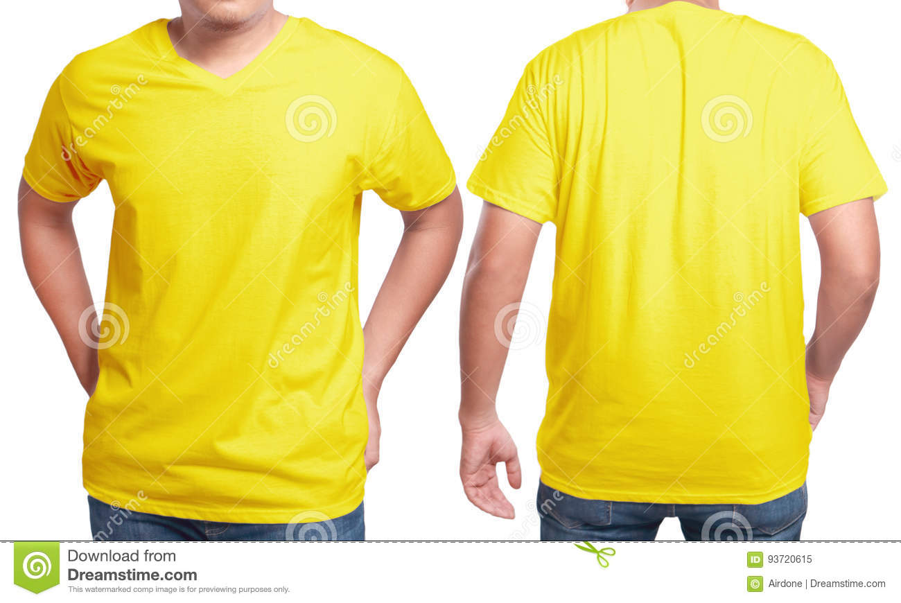 Yellow v neck shirt design template stock image image of for T shirt mockup front and back