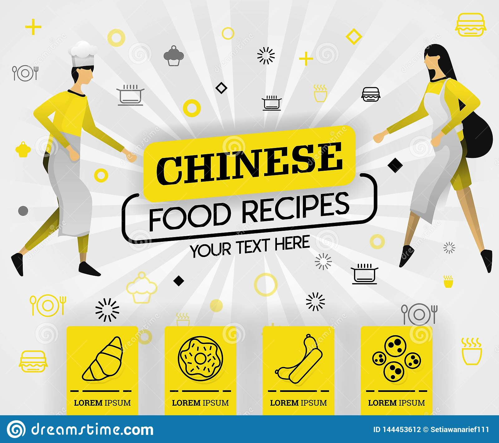 Yellow vector illustration concept. chinese food recipes recipes cover book. healthy cooking recipe and delicious food cover can