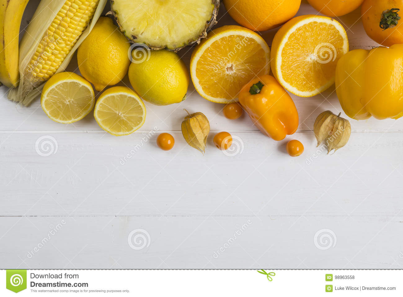 Yellow Vegetables And Fruit Stock Photo - Image of food ...