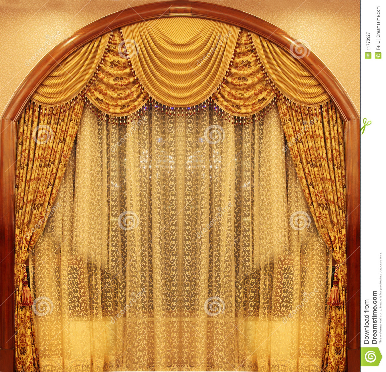 Yellow Velvet Theater Curtains Stock Image