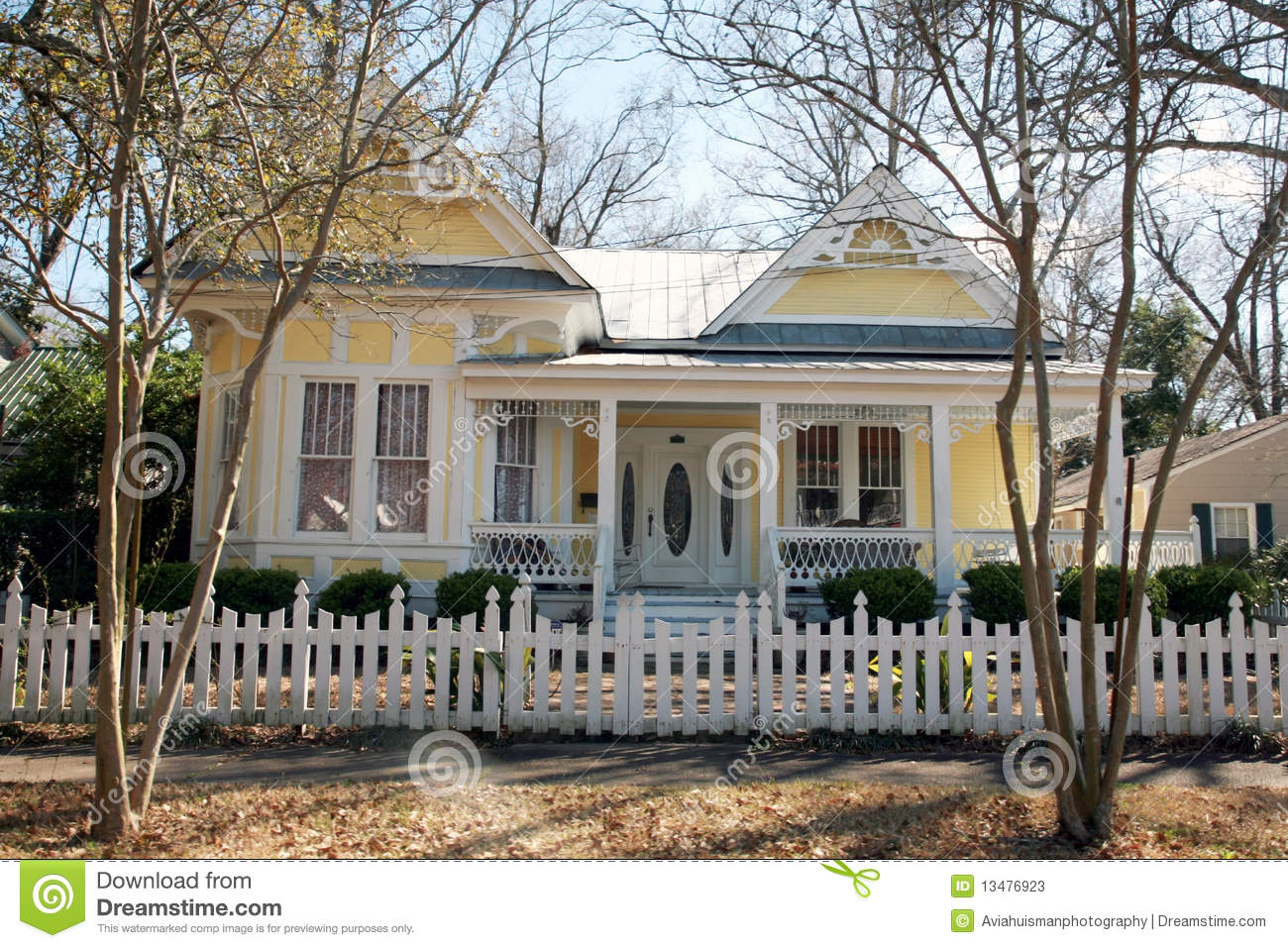 Yellow Victorian Style Home Stock Photos Image 13476923