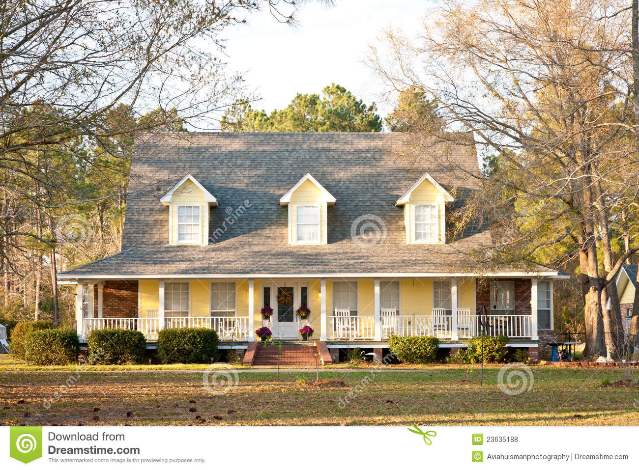 Yellow Victorian Style Home Stock Photo Image 23635188