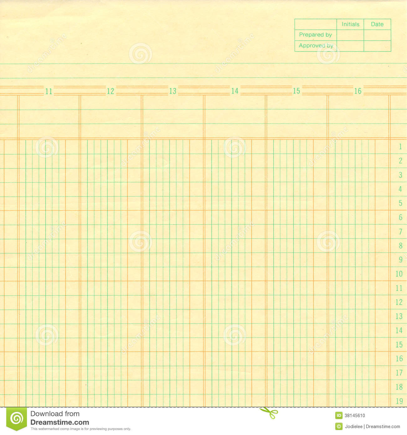 yellow vintage ledger or graph paper numbered stock photo
