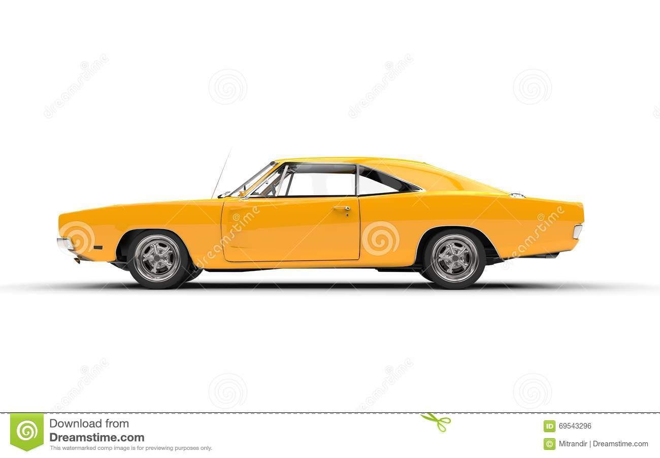 Yellow Vintage Muscle Car Side View Stock Photo Image