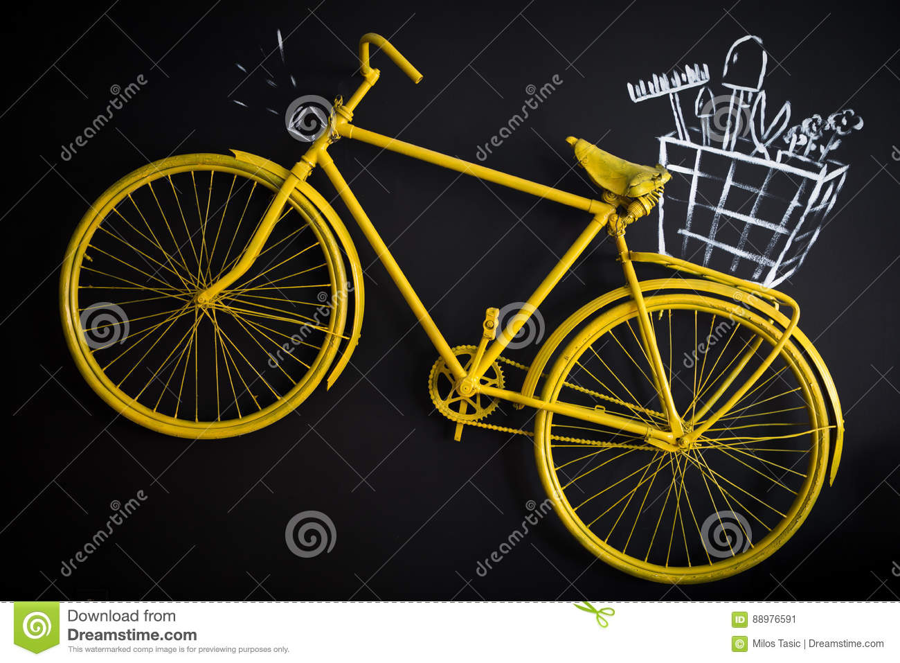 Yellow Vintage Style Bike stock image. Image of cycling - 88976591
