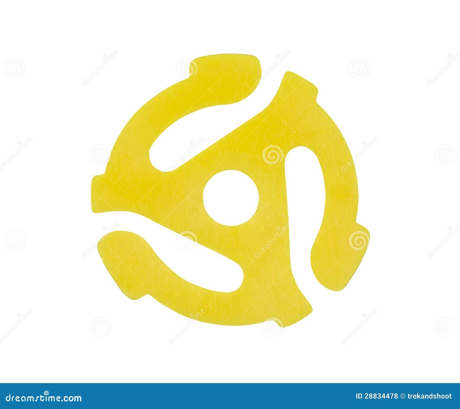Yellow Vinyl 45 Rpm Record Adapter Royalty Free Stock