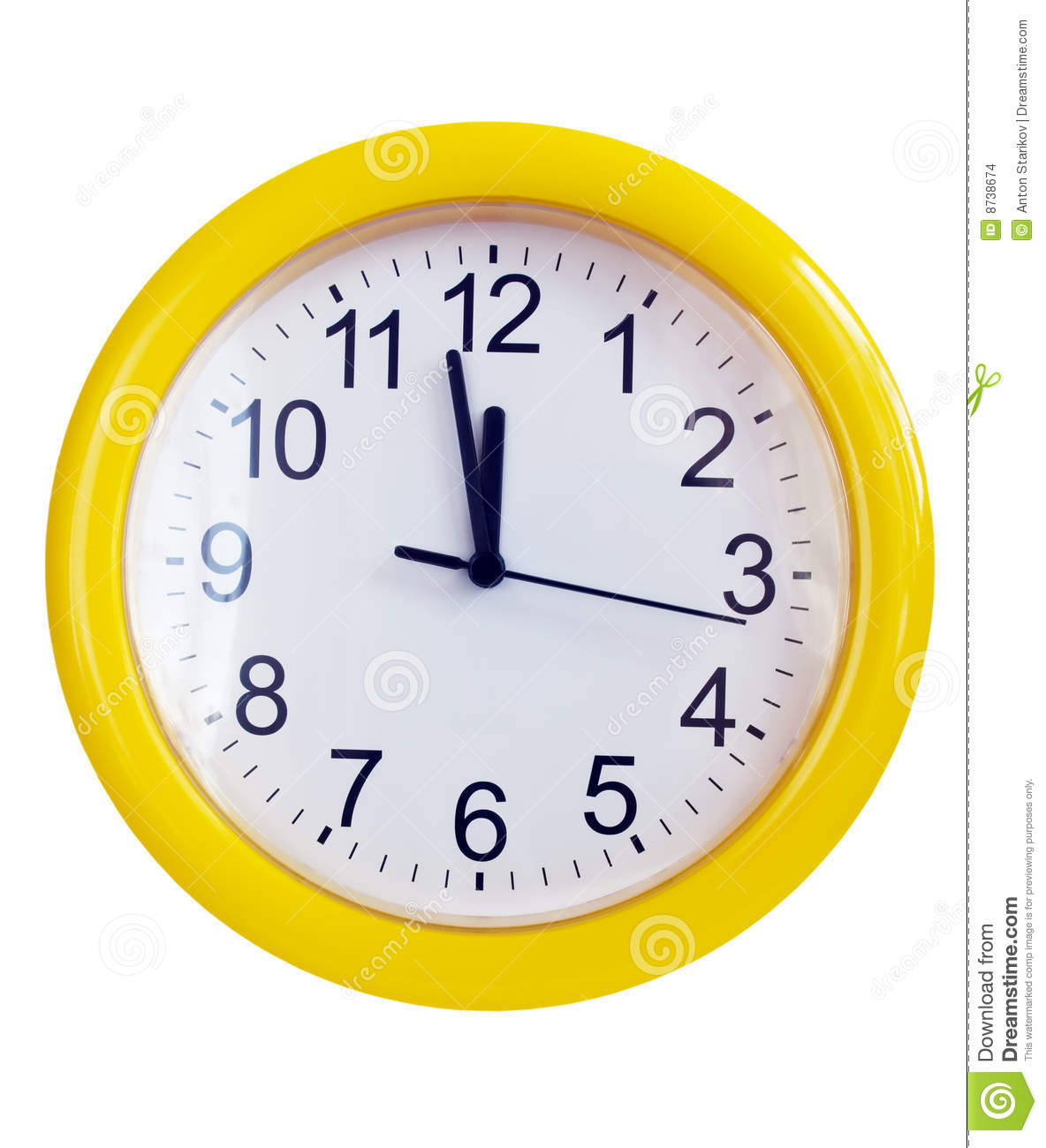 Yellow Wall Clock Stock Images - Image: 8738674
